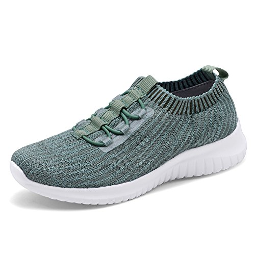 TIOSEBON Women's Lightweight Casual Walking Athletic Shoes Breathable Flyknit Running Slip-On Sneakers 8.5 US Green
