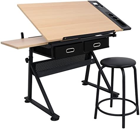 SUPER DEAL Drafting Desk Drawing Table Desk – Height Adjustable – Tiltable Tabletop – Padded Stool – Two Drawer for Reading, Writing, Art Craft Work Station Wood