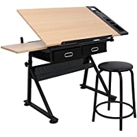 BBBuy Drafting Desk Drawing Table Adjustable with Stool and Drawer