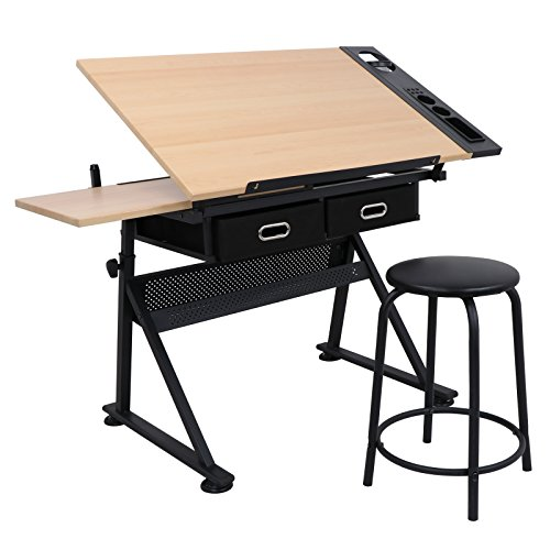 Super Deal Drafting Desk Drawing Table Desk - Height Adjustable - Tiltable Tabletop - Padded Stool - Two Drawer for Reading, Writing, Art Craft Work Station (Wood) by SUPER DEAL
