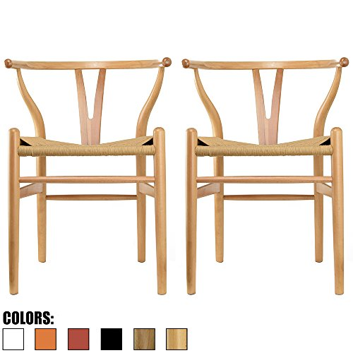 2xhome Set Of 2 Natural Wishbone Wood Armchair With Arms Open Y Back Open  Mid Century Modern Contemporary Office Chair Dining Chairs Woven Seat Brown  Living ...