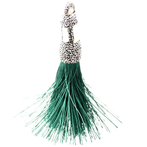 Trend Builder Inc New Big Bold Beautiful High End Fashion Tassel Rhinestone Drop Dangle CZ Necklaces & Pendants & Keychains (Dancing Emerald)