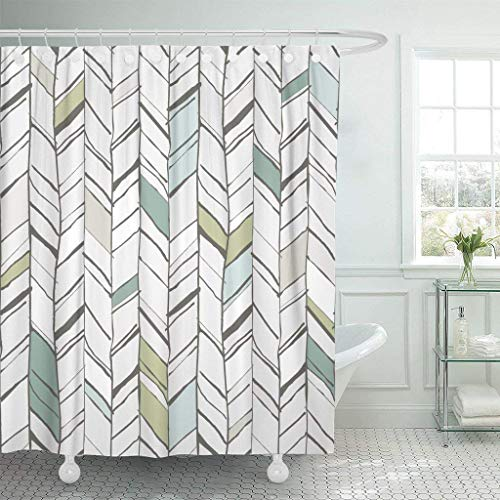 Home&hat Shower Curtain Green Handdrawn Creative Herringbone Pattern Perfectly Composition Projects Chevron Waterproof Polyester Fabric