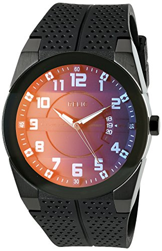 Relic Men's 'Jake' Quartz Stainless Steel and Polyurethane Casual Watch, Color:Black (Model: ZR12194)