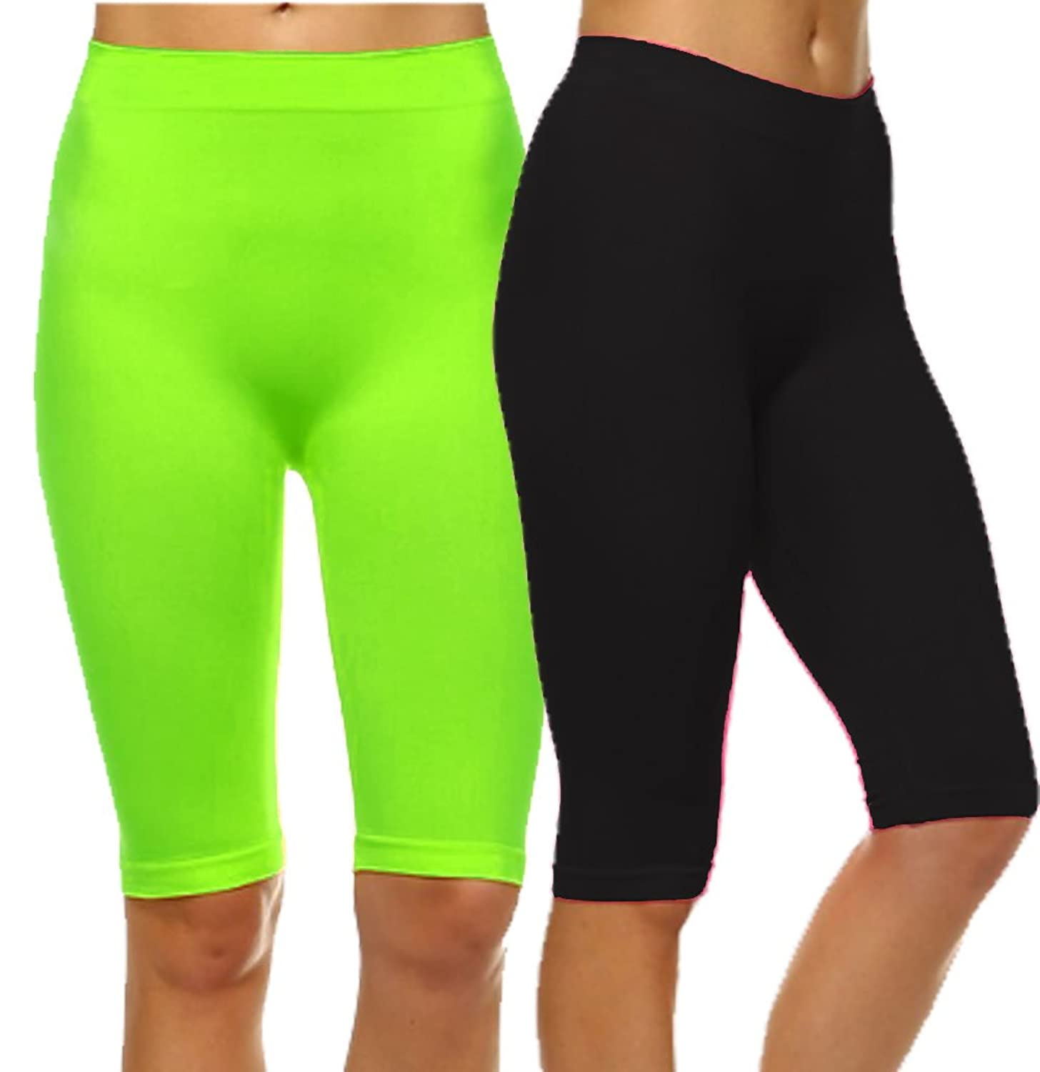 Basic Solid Biker Knee Length Shorts Spandex Yoga Leggings