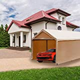 Abba Patio 10 x 20 ft Heavy Duty Beige Carport, Car Canopy Versatile Shelter with Sidewalls, Beige