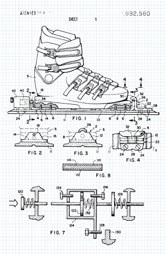 Ski Binding Patent Poster Graphite on Blue Graph - Sports Patents Matte Print