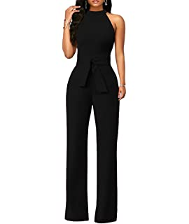 443377dcf5e2 Chic-Lover Women s Elegant Solid Jumpsuit High Waisted Wide Leg Pants Jumpsuits  Romper with Belt