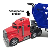 BOLEY 5-in-1 Big Rig Hauler Truck Carrier Toy Complete Trailer with Construction Signs and Monster Jam Trucks great toy for boys, girls who like vehicle playsets!
