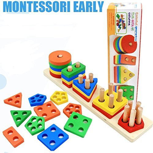 Revanak Wooden Educational Preschool Toddler Toys for 1 2 3 4-5 Year Old Boys Girls Shape Color Recognition Geometric Board Blocks Stack Sort Chunky Puzzles Kids Children Baby NON-TOXIC Toy by