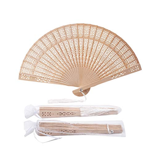 Hand Fans For Wedding (Sepwedd set of 50pcs Sandalwood Fan Baby Shower Gifts Favors with gift bags and tassels wooden folding)