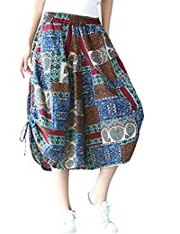 Women's Smocked Waist Harem Wide Leg Capri Pants Culotte
