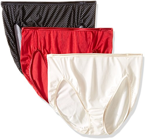 Vanity Fair Women's 3 Pack Illumination Hi Cut Panty 13308, Sweet Cream/Premiere Dot Print/Galahad Red, Large/7