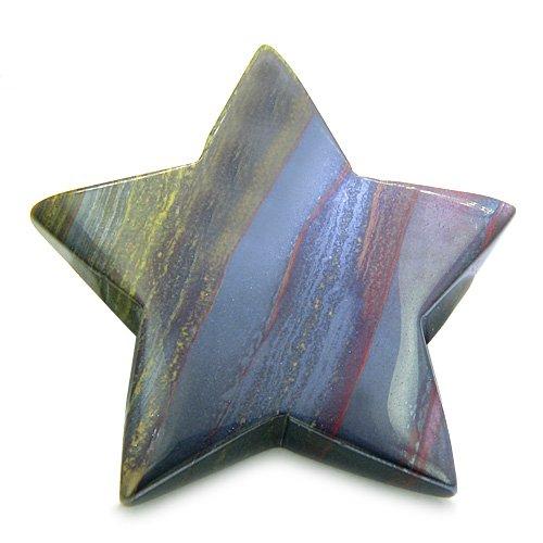 Tiger Eye Amulet (Amulet Magic Five Pointed Star Crystal Carving Tiger Eye Iron Gemstone Protection and Healing Powers Individual Keepsake Totem)