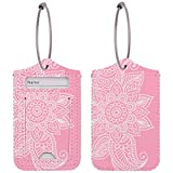 WALNEW Travel Luggage Tags - Suitcase Label Baggage Case Handbag Tags with Stainless Steel Ring Lock (Set of 2 Tags, Pink Flowers)