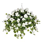 House of Silk Flowers Artificial White Geranium (WT) in Beehive Hanging Basket by House of Silk Flowers