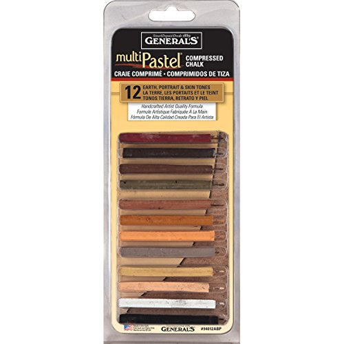 MultiPastel Compressed Chalk Sticks 12/Pkg-Earth, Portrait & Skin Tones by General's
