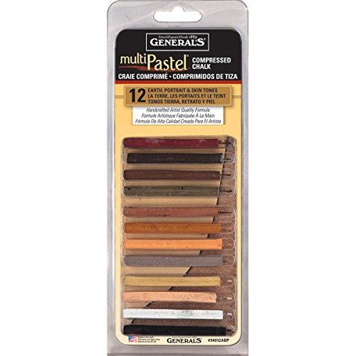 MultiPastel Compressed Chalk Sticks 12/Pkg-Earth, Portrait & Skin Tones Compressed Chalk