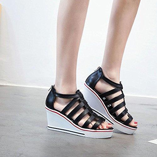 PU Sandales Marche Confort SSRSH Plateformes Femme Peep Compensées Sandales Chaussures Wedge Talon Baskets Cuir Toe nqIqSvp