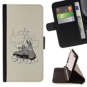 For Samsung Galaxy S5 Mini, SM-G800 Oldschool Vintage Skates Beautiful Print Wallet Leather Case Cover With Credit Card Slots And Stand Function