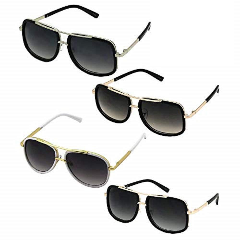 Choose Color #EGNH Men Designer Fashion Sunglasses Mach Oversized Square Aviator Gold Metal Bar
