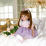 PURSUEBABY Real Looking Reborn Toddler Princess Girl Doll with Long Hair Jodie, 24 Inch Soft Body Realistic Weighted Toddler Dolls Cuddle for Children
