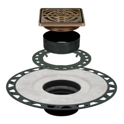 Drain Kit 4'' Square Grate - Oil Rubbed Bronze - ABS by Kerdi