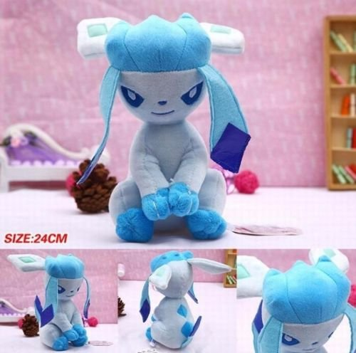 "9"" Pokemon Pocket Monster Glaceon Soft Stuffed Animal Plush Toy Doll Kids Gift"