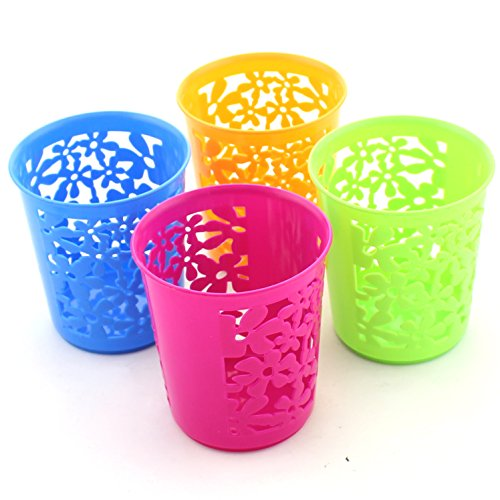 Zicome Set of 4 Desktop Office Storage Organizer - Creative Round Hollow Flower Design Pen Pencil Holder Organizer Basket in 4 Bright Colors