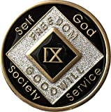 9 Year Black and Silver Glitter NA Medallion Official Narcotics Anonymous Chip