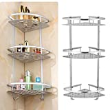 Yosoo 3-Tier Shampoo Basket Shower Shelf Bathroom Corner Shower Rack Storage Holder Hanger for Towels, Soap, Lotion