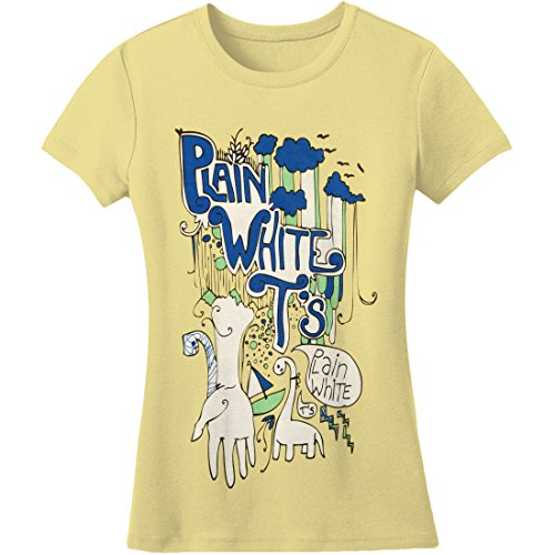 Plain White Ts Clouds Girls Jr Medium Yellow