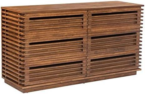 Zuo Modern Linea Double Dresser, Slatted Six-drawer Dresser, 59 W x 31.5 H x 19 L Overall Dimensions, Walnut