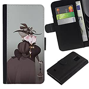 KingStore / Leather Etui en cuir / Samsung Galaxy S5 Mini, SM-G800 / Arte Aristocrat Mujer Sombrero Negro Paraguas