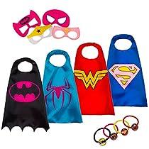 LAEGENDARY Superhelden Kostüme für Kinder - 4 Capes und Masken - Im Dunkeln Leuchtendes Wonder Woman - Logo - Mädchen Spielzeug - Karneval Fasching Costume