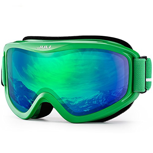 JULI OTG Ski Goggles-Over Glasses Ski / Snowboard Goggles for Men, Women & Youth - 100% UV Protection Anti-fog Dual Lens(Green Frame+12%VLT REVO Green - Revo Frames