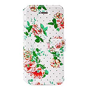 WEV Fashion Small Fresh Florals Series Dot Leather Case with Holder & Card Slots for iPhone 5/5S