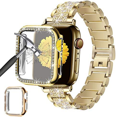 Mesime Compatible for Apple Watch Band 38mm 40mm 42mm 44mm with Screen Protector Case, Jewelry Replacement Metal Band & 2-Pack Bling Full Cover Protective Case for iWatch Series 6/5/4/3/2/1(Gold)