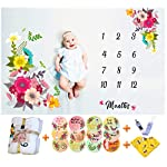Baby-Monthly-Milestone-Blanket-For-Girls-Thick-Soft-Large-50×40-Bonus-Floral-Wreath-12-Milestone-Stickers-Bib-Pacifier-Clip-Photography-Background-Blanket-Photo-Props-Watch-Me-Grow