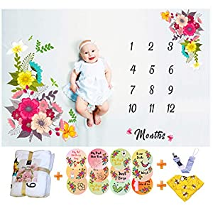 Baby Monthly Milestone Blanket For Girls Thick, Soft, Large 50″x40″ | Bonus Floral Wreath, 12 Milestone Stickers, Bib, Pacifier Clip | Photography Background Blanket | Photo Props, Watch Me Grow