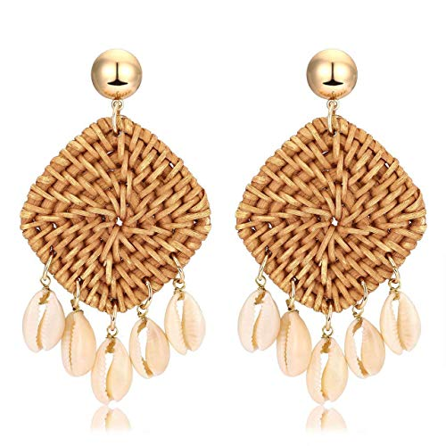 - liujun Rattan Earrings for Women, Handmade Wicker Braid Weave Raffia Straws Bohemian Earrings, Geometric Shell Dangle Statement Earrings (Style 5)