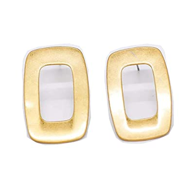 4192a66f422 Amazon.com  Eleganze Geometric Jewelry Gold Plated Simple Metal Square  Earrings Drop Earrings Stud Earring Edgy Gift For Girls (drop earrings)   Jewelry