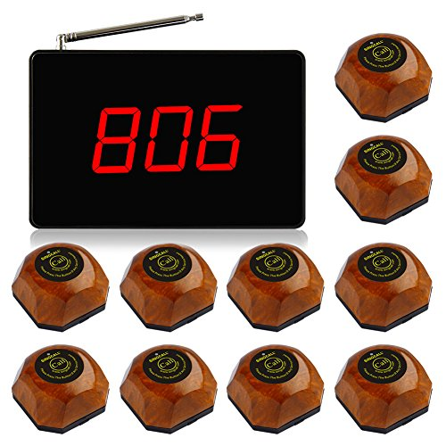 SINGCALL Wireless Calling System, Service System, Call Waiter, Call Nurse, for Cafe, Coffee Shop, Restaurant, Office, Small Display, Big Screen, Pack of 1 Pc Display and 10 Pcs Table Bells. by SINGCALL