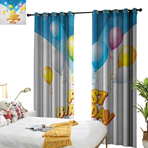 1st Birthday Customized Curtains First Party Theme Balloons with Abstract in Blue Tones Image Print W84 x L84,Suitable for Bedroom Living Room Study, -