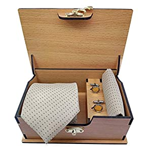 Ollera Men Premium Neck Tie and Pocket Square with Cufflink Combo Gift Set in Premium Wooden Box(Cream, Free Size)