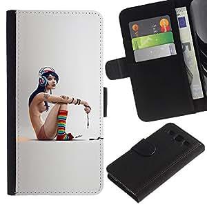 LECELL--Cuero de la tarjeta la carpeta del tirón Smartphone Slots Protección Holder For Samsung Galaxy S3 III I9300 -- Flaco Emo Chica --