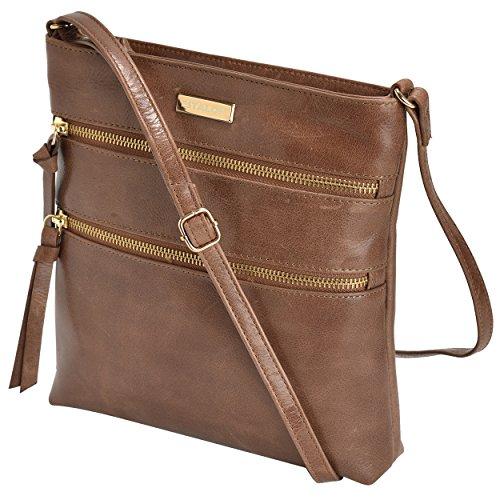 Leather Crossbody Purse for Women – Handmade Cross Body Bag Over the Shoulder Purses Small Womens Handbag Messenger Bags by Estalon (Tan Waxy)