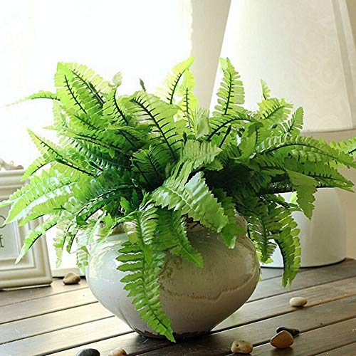 Artificial & Dried Flowers - Plastic Green 7 Stems Artificial Asparagus Fern Grass Bushes Flower Bonsai Home Garden Floral - Spears Asparagus Stems Artificial Fern