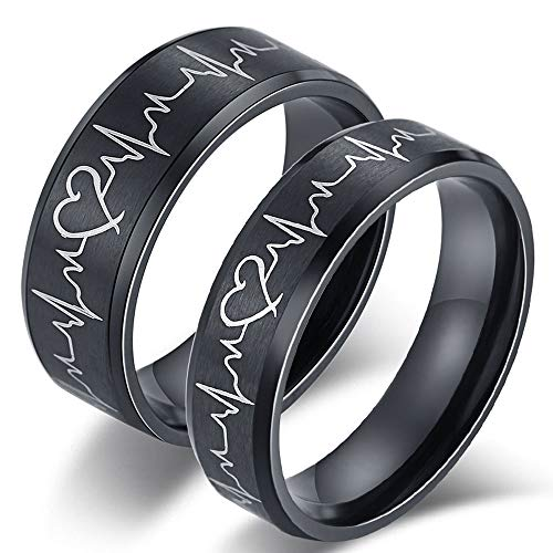 AONEW His and Her Heartbeat Couple Ring Set Matte Black Stainless Steel Matching Promise Wedding Band for Womens Mens