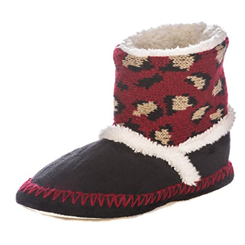 Wildside Print Burgundy Indoor Womens Noble Black Short Leopard Mount Boot Slippers xqSwEEpIZ